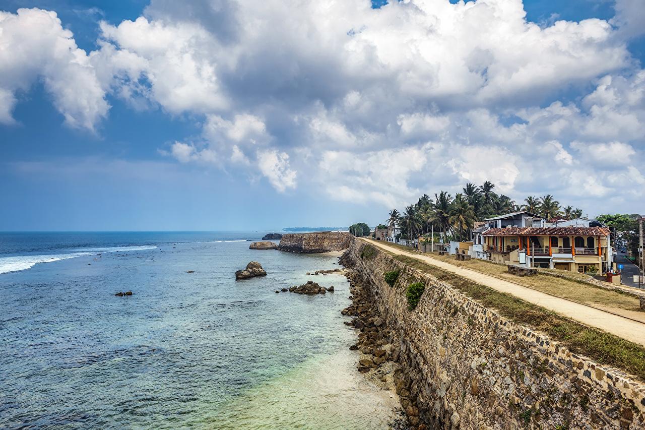 Фотография Шри-Ланка Galle fort Море Небо Дороги Побережье Дома Города Облака берег Здания