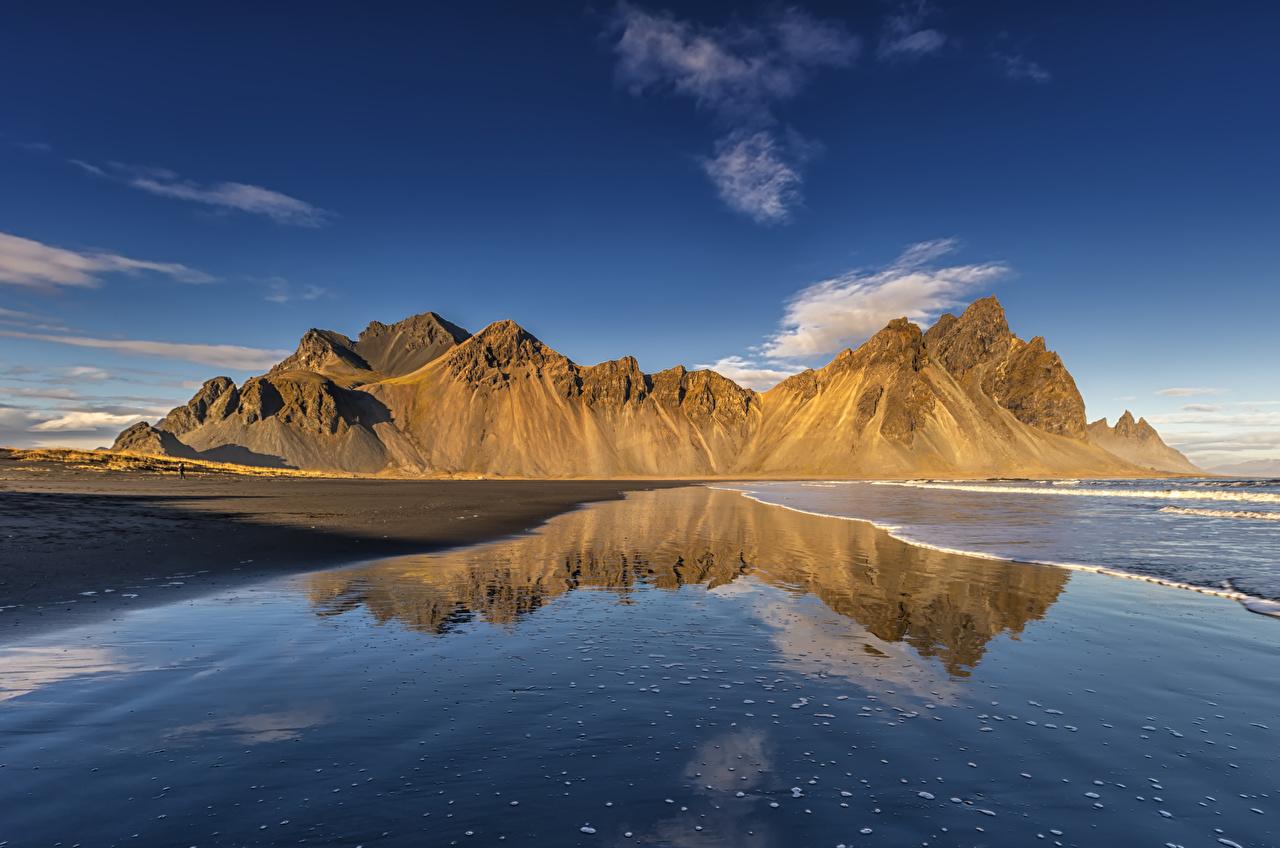 Фотографии Исландия гора Природа отражается берег Горы отражении Отражение Побережье