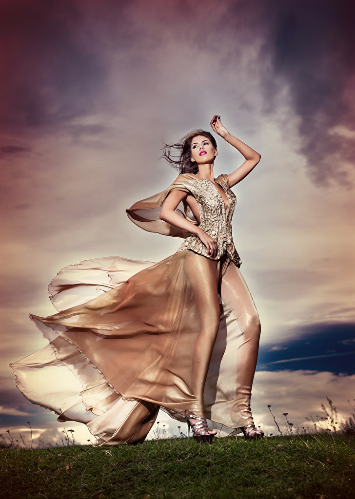 Картинки Шатенка ветром девушка Платье шатенки Ветер ветрено Девушки молодые женщины молодая женщина платья