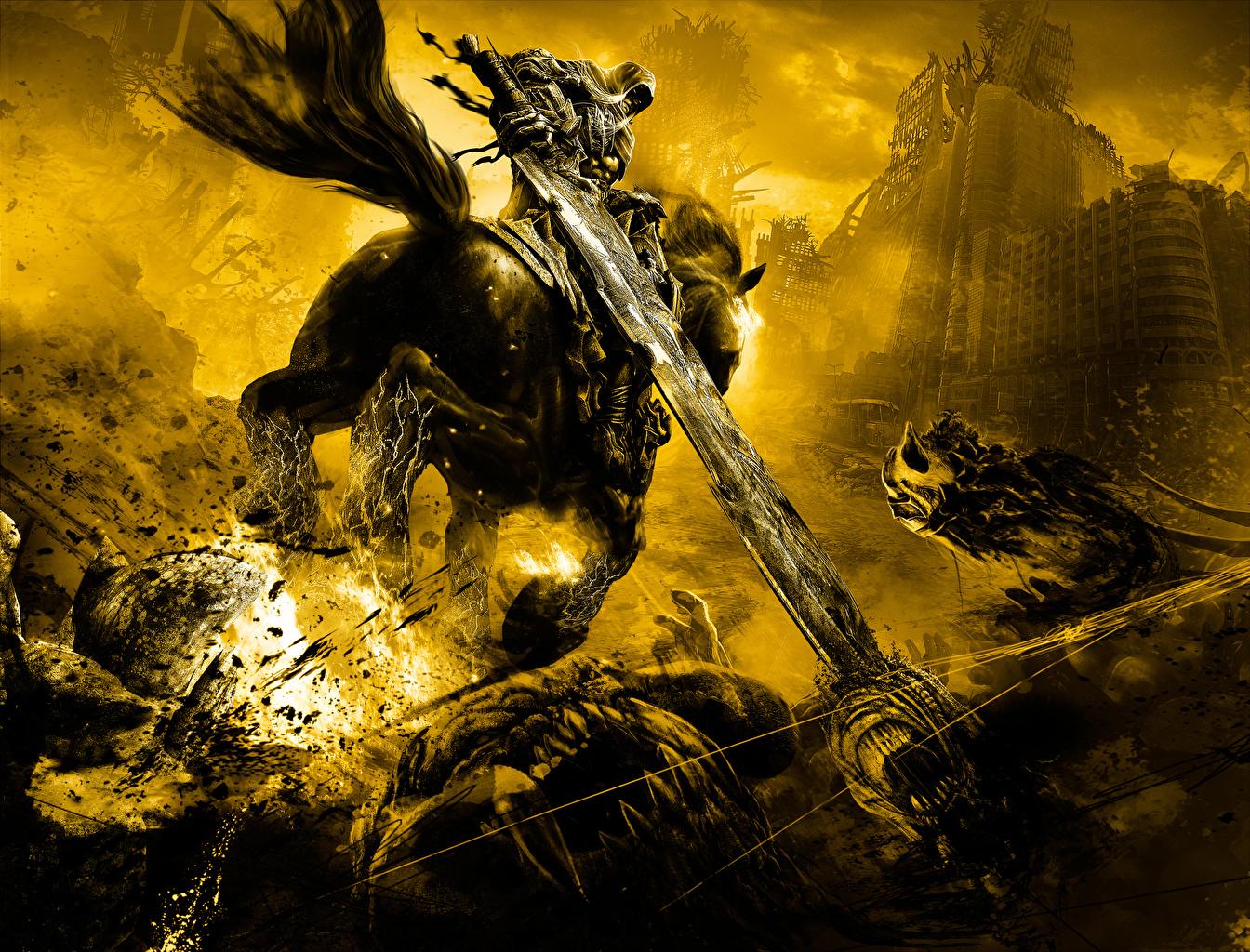 Картинки Darksiders Мечи Лошади Нежить Бег Фантастика Игры Нечисть Фэнтези