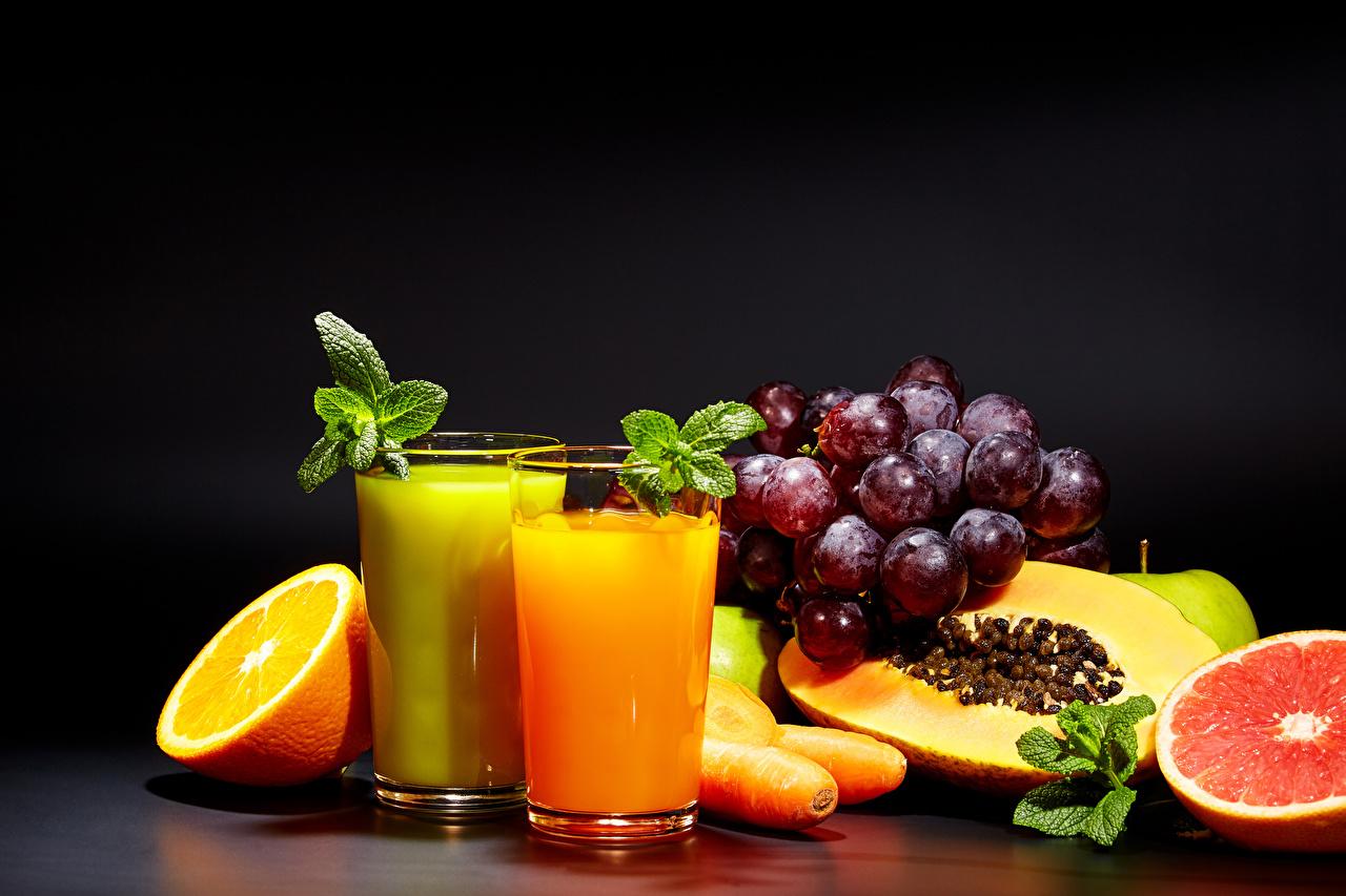 Фотографии Сок Апельсин стакане Виноград Пища Фрукты Стакан стакана Еда Продукты питания