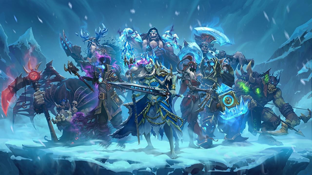 Фото Hearthstone: Heroes of Warcraft Мечи воины Knights Of The Frozen Throne Фэнтези Игры Воители Фантастика