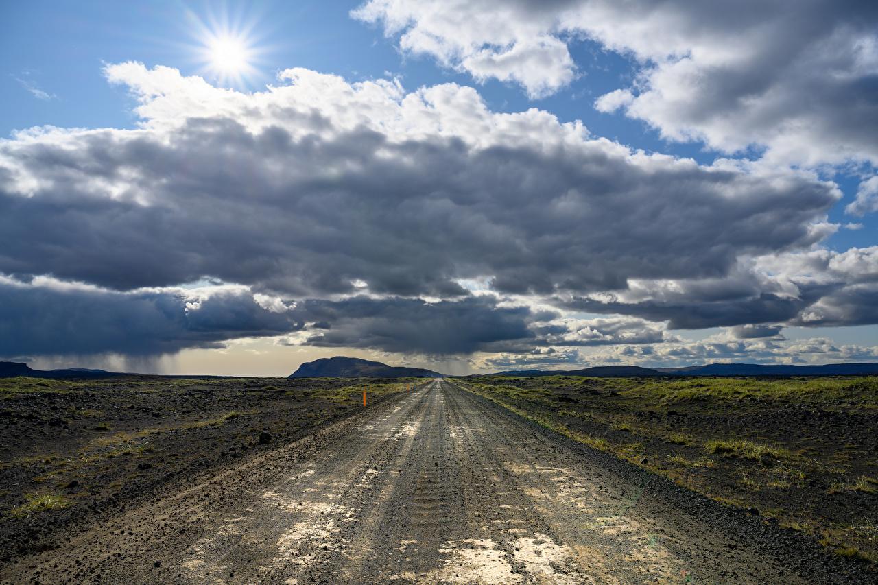 Фотографии Исландия Природа Небо Дороги Горизонт облачно горизонта Облака облако