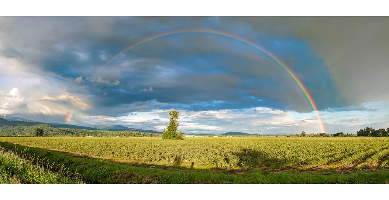 Картинка Канада Pitt Meadows, British Columbia Тучи Радуга Природа Поля облачно туч радуги Облака облако