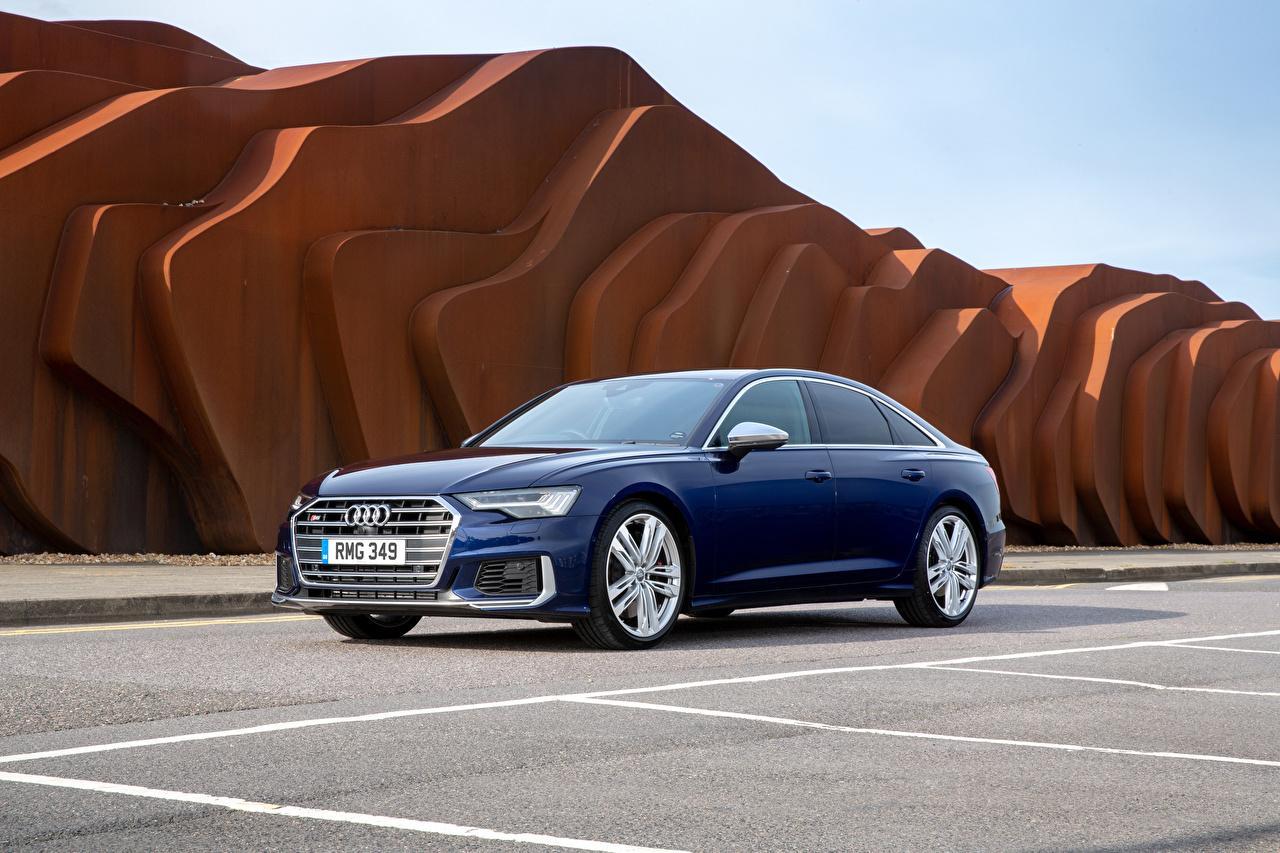 Картинка Audi 2019 S6 Sedan TDI Седан Синий машины Ауди синяя синие синих авто машина Автомобили автомобиль