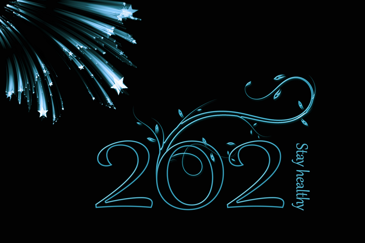 Картинка 2021 Новый год Звездочки Английский слова на черном фоне Рождество английская инглийские текст Слово - Надпись Черный фон