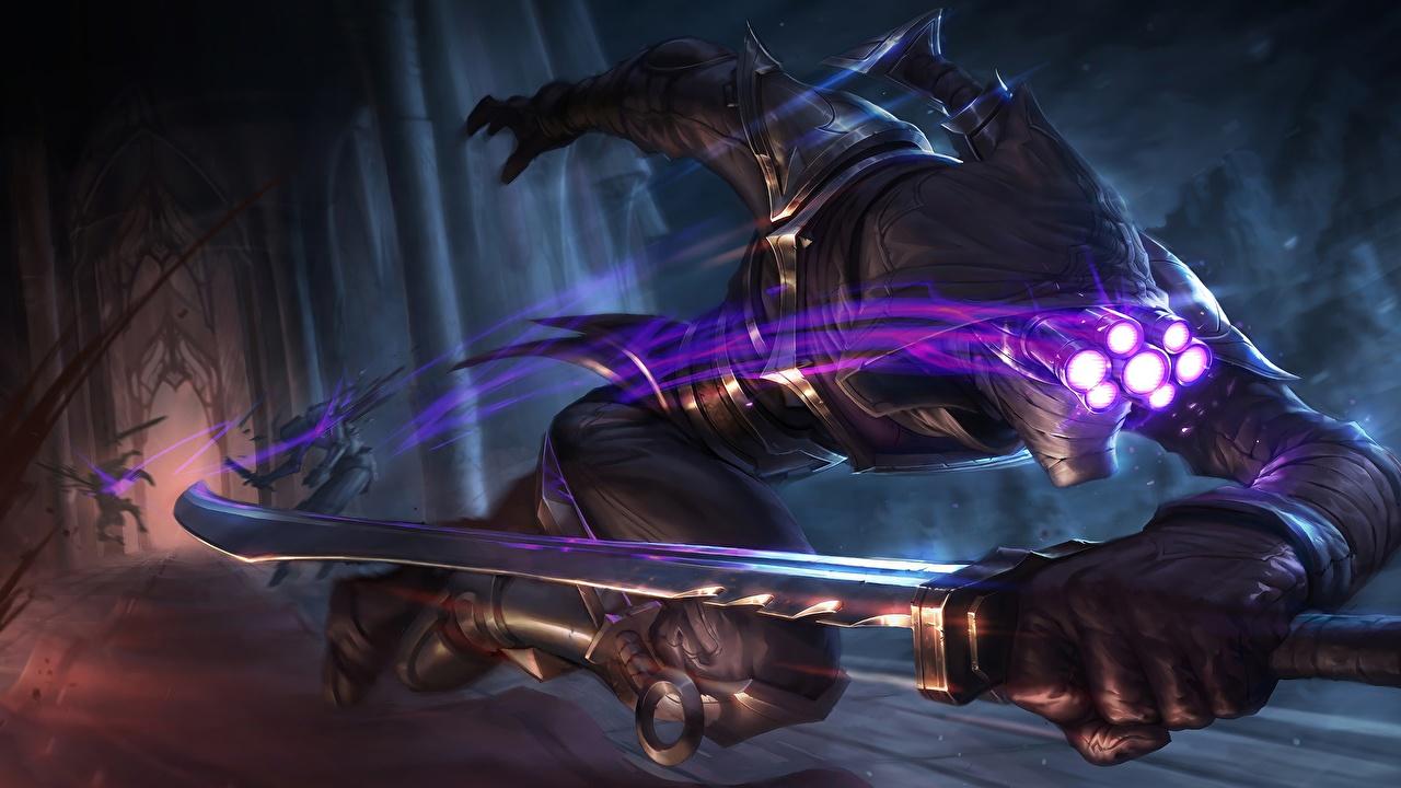 Картинка LOL меч Воители Бег Assassin Master Yi Фантастика компьютерная игра League of Legends Мечи меча с мечом воин воины бежит бегущая бегущий Фэнтези Игры