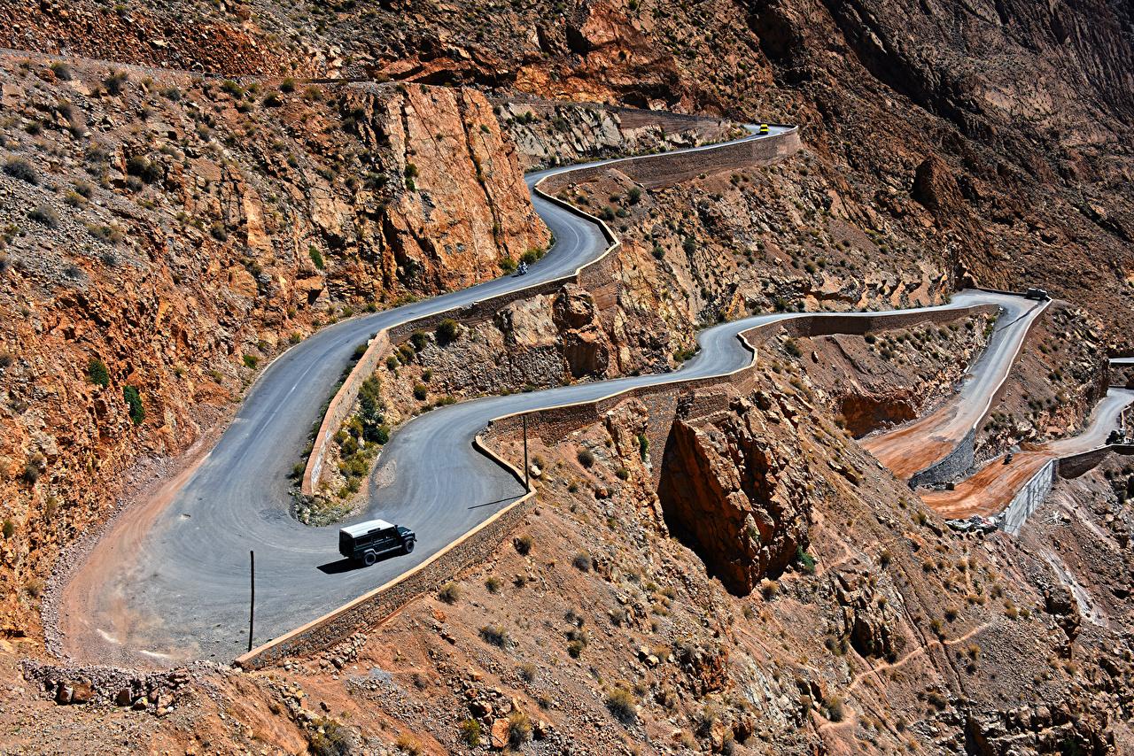 Картинки Марокко Gorges Dades Горы скалы Природа Дороги Сверху гора Утес скале Скала