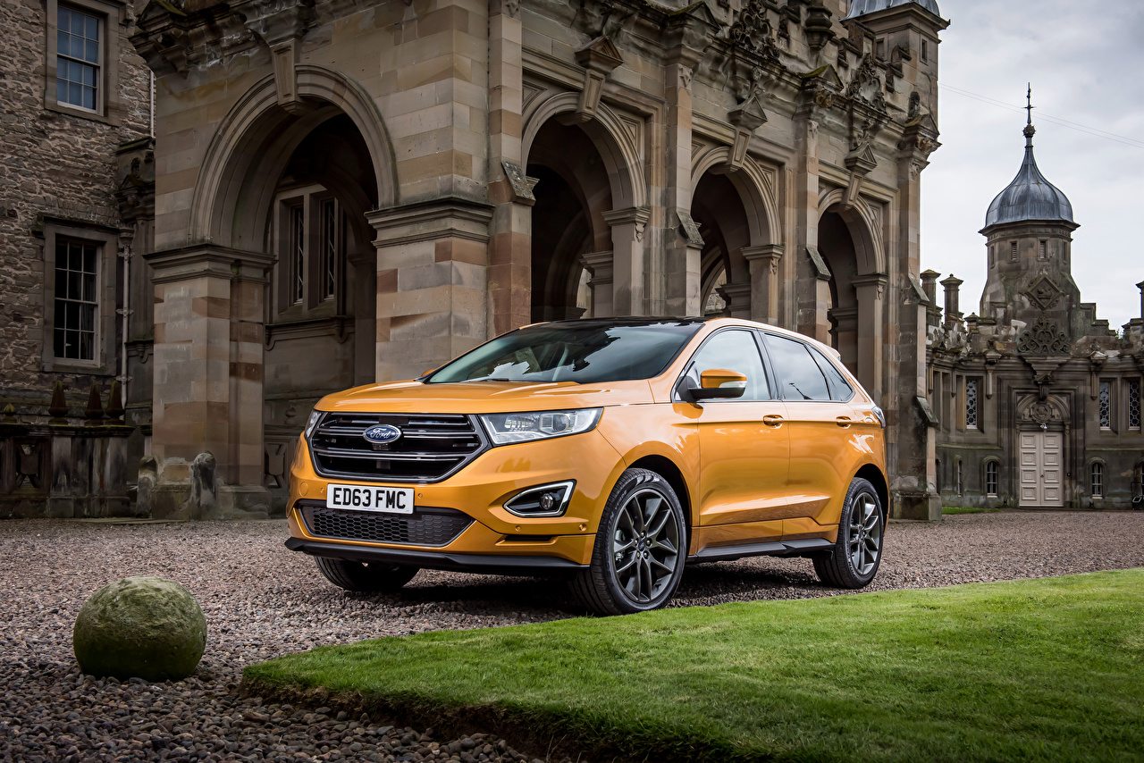 Фотографии Ford 2016 Edge Spor Желтый Металлик Автомобили Форд Авто Машины