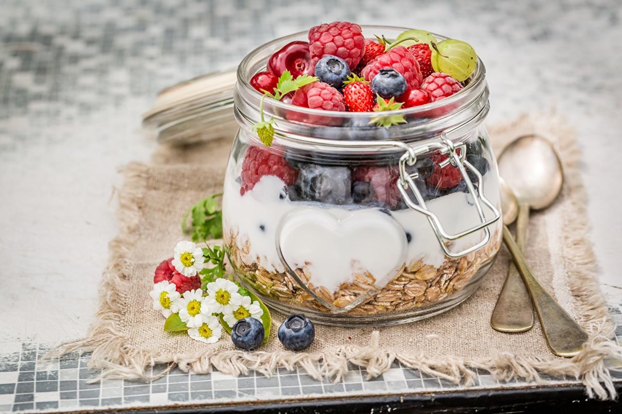 Фото Завтрак Банка Малина Еда Ягоды Мюсли банки банке Пища Продукты питания