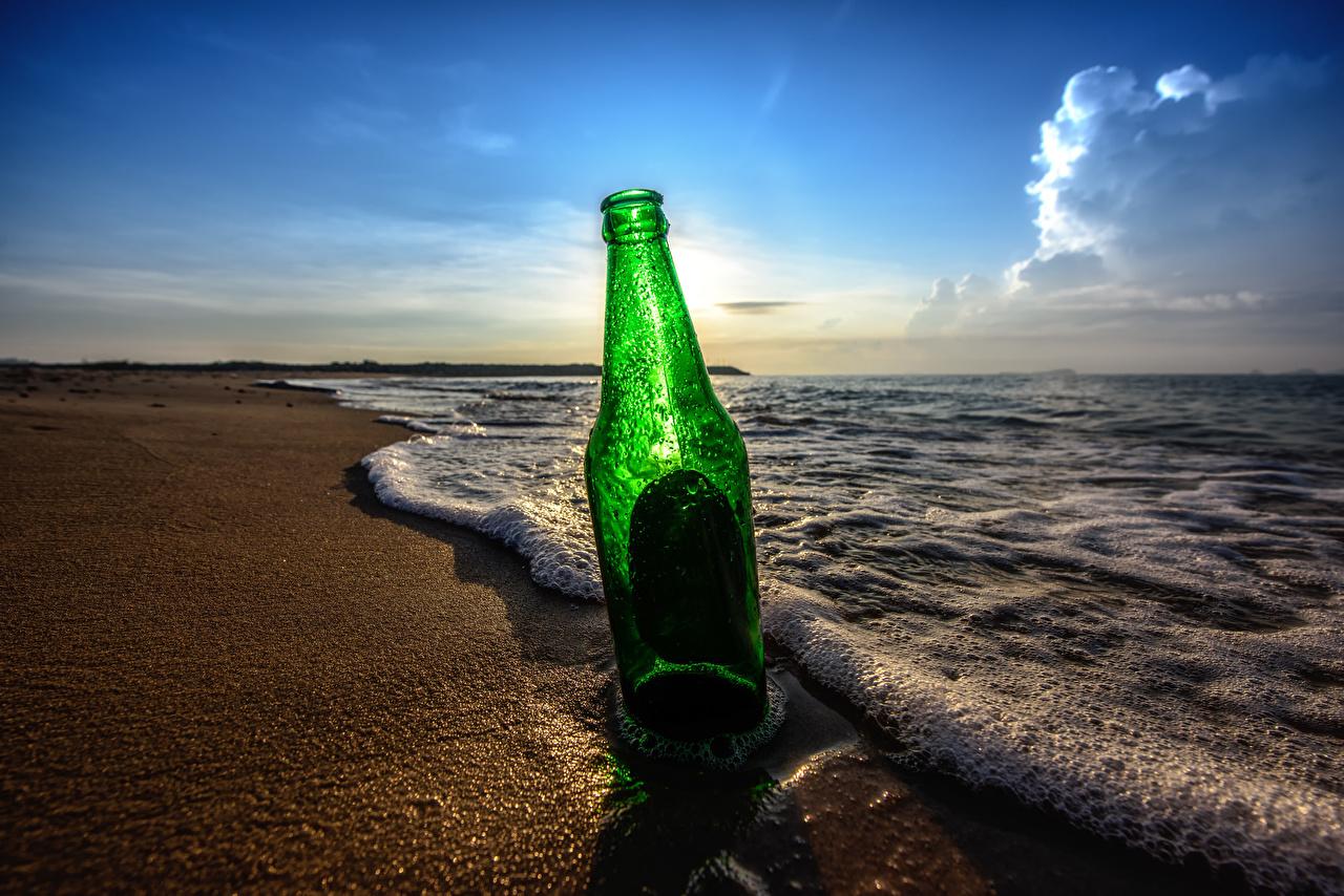 Фотографии пляже Море Природа Небо Утро Волны пене Вода Бутылка Побережье Пляж пляжи пляжа Пена берег пеной бутылки