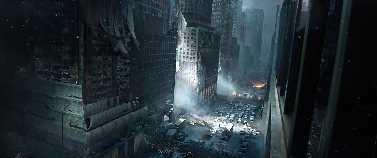 Фотография Tom Clancy Нью-Йорк штаты The Division Игры улиц в ночи Небоскребы США улице Улица компьютерная игра Ночь ночью Ночные