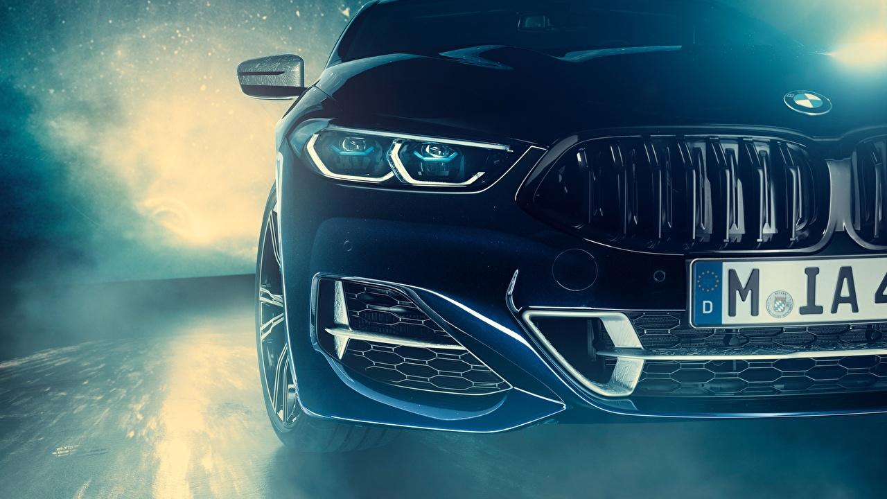 Картинка BMW Individual 8-Series 2019 M850i XDrive Night Sky Edition Купе фар машина Спереди БМВ авто Фары машины автомобиль Автомобили