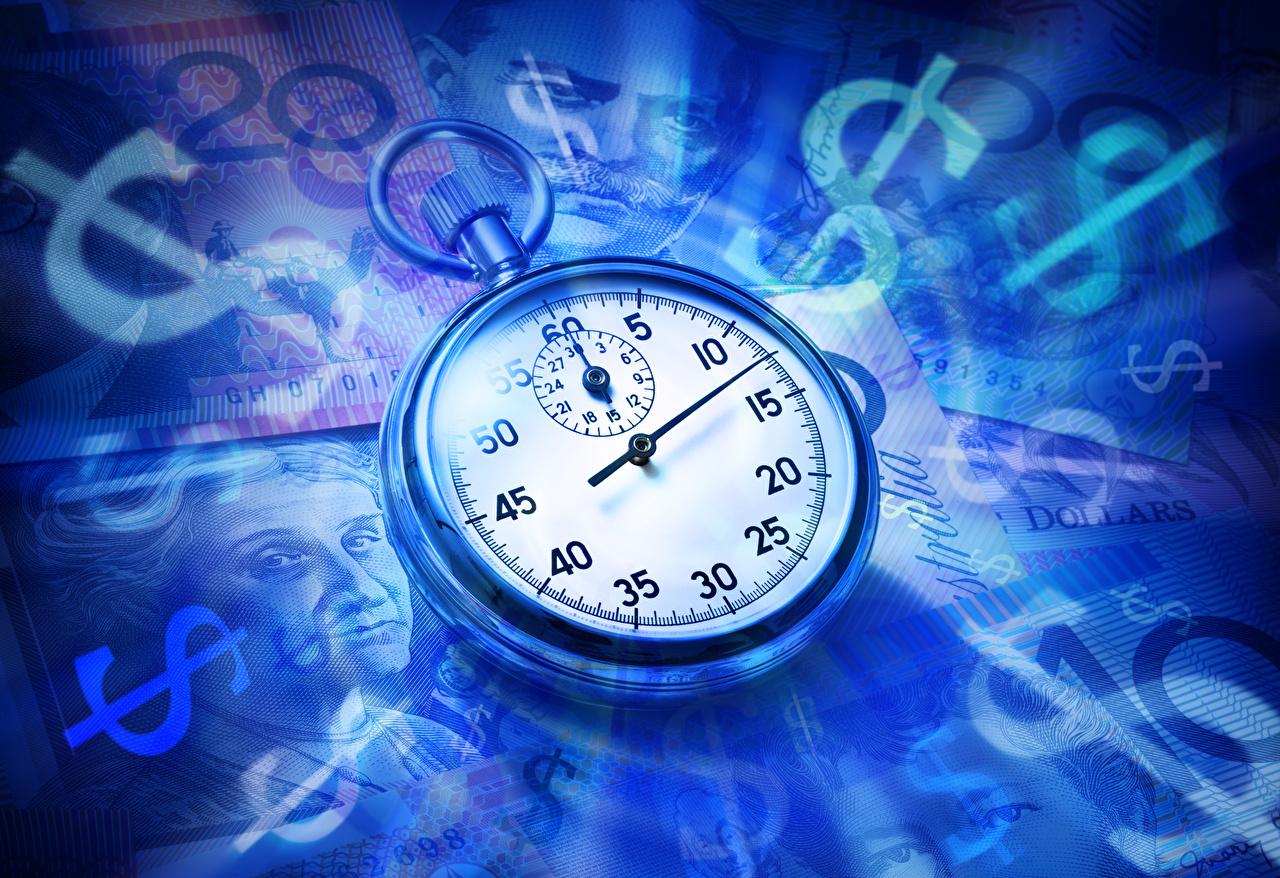 Фотографии Доллары Карманные часы Часы