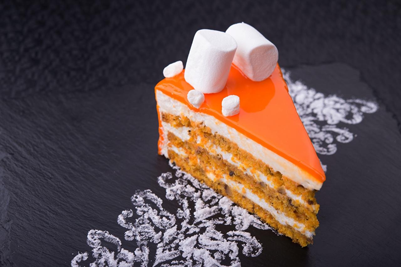 Картинки Торты зефирки часть Десерт Пища Пирожное Маршмэллоу Кусок Еда Продукты питания
