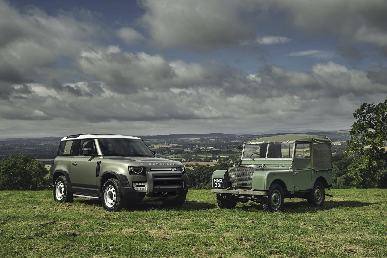 Картинки Range Rover SUV Land Rover Series I, Land Rover Defender 2 Ретро машина Внедорожник два две Двое винтаж вдвоем старинные авто машины Автомобили автомобиль