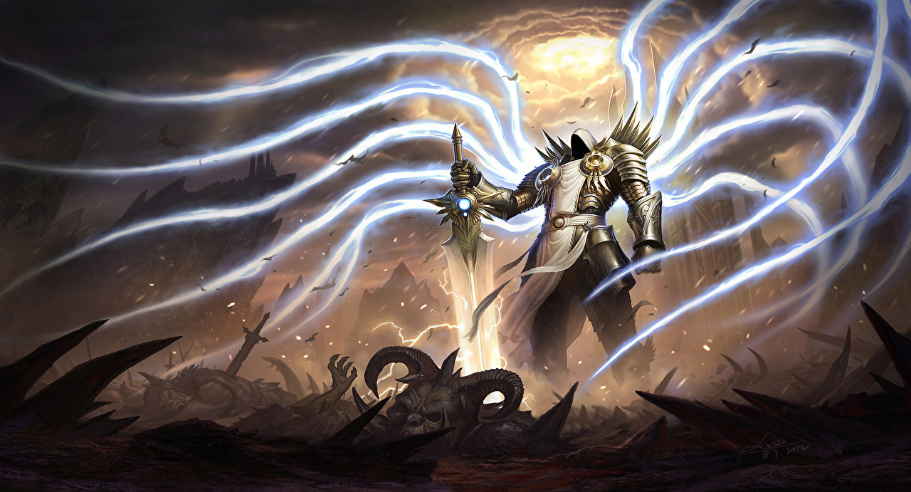 Фото Diablo III Мечи Магия Tyrael Фэнтези Игры Ангелы Diablo 3 волшебство Фантастика