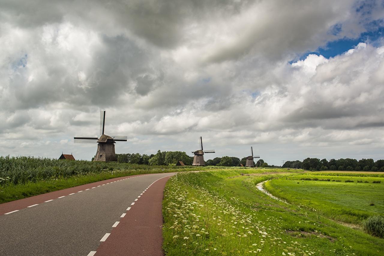 Фото Мельница Природа Дороги Трава Облака мельницы ветряная мельница траве облако облачно