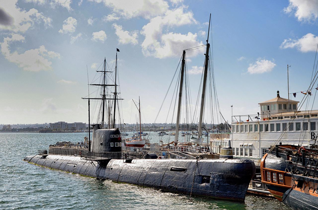 Картинки Сан-Диего калифорнии Подводные лодки музеи Maritime Museum, Bay военные Калифорния Музей Армия
