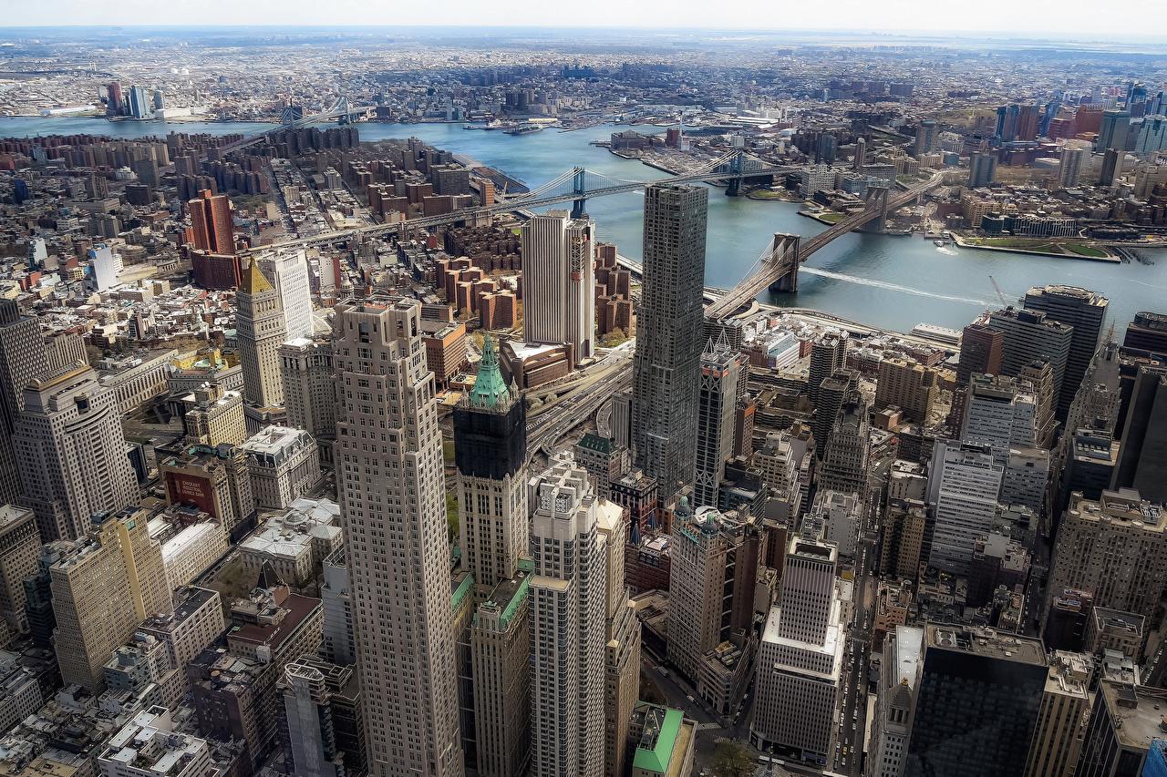Фото Манхэттен штаты Мегаполис Brooklyn Сверху Небоскребы Города Здания США Дома