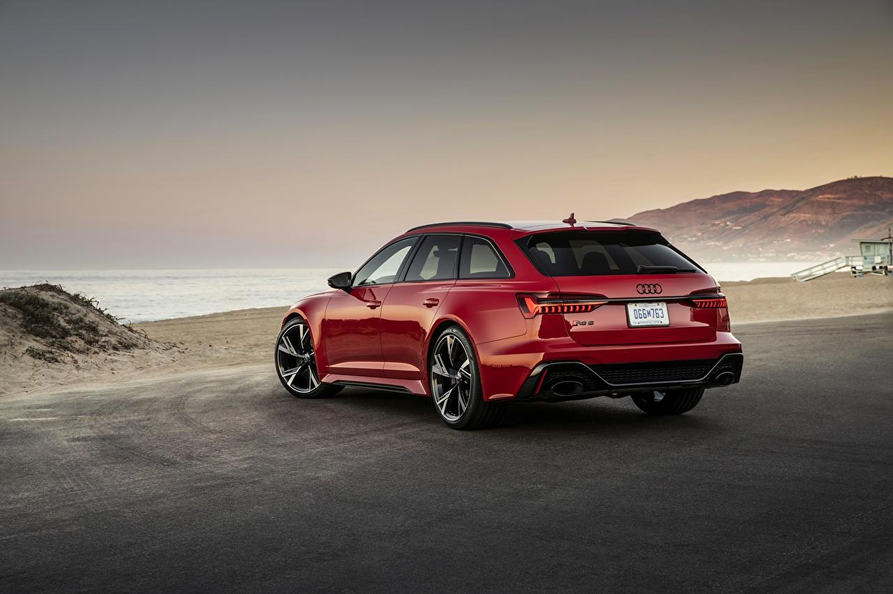 Обои для рабочего стола Audi Универсал RS 6 2020 2019 V8 Twin-Turbo Avant красная авто Сзади Ауди Красный красные красных машины машина вид сзади Автомобили автомобиль