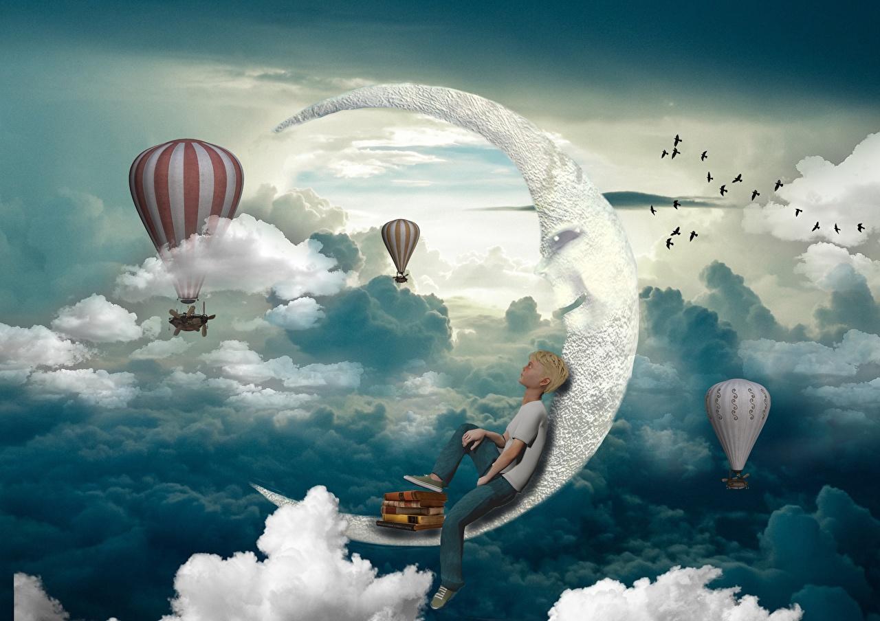 Картинки мальчик Воздушный шар 3D Графика Полумесяц облако Мальчики мальчишки мальчишка аэростат 3д лунный серп Облака облачно