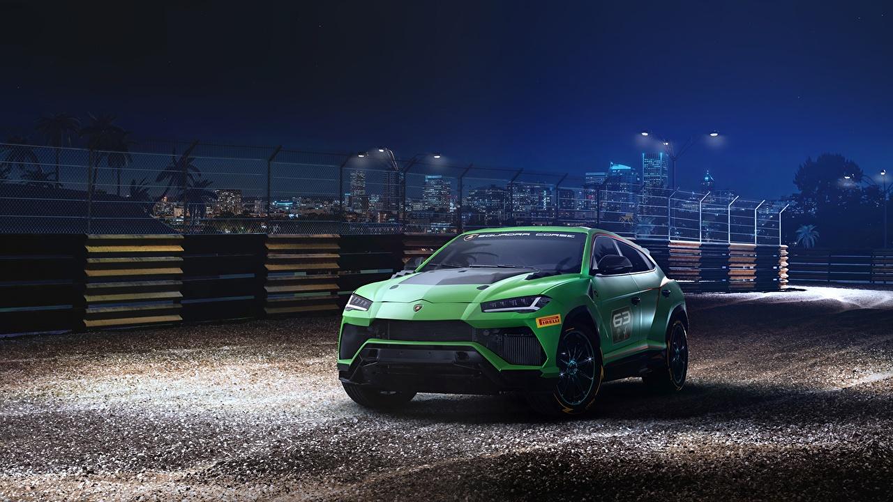 Обои Ламборгини Urus 2019 ST-X Зеленый Автомобили Lamborghini Авто Машины