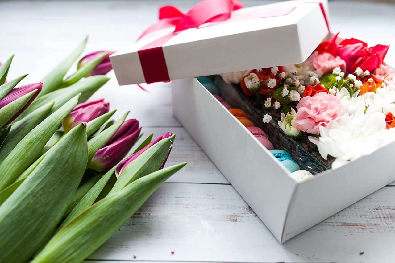 Картинки тюльпан Цветы Подарки коробке Тюльпаны цветок коробки подарок Коробка подарков