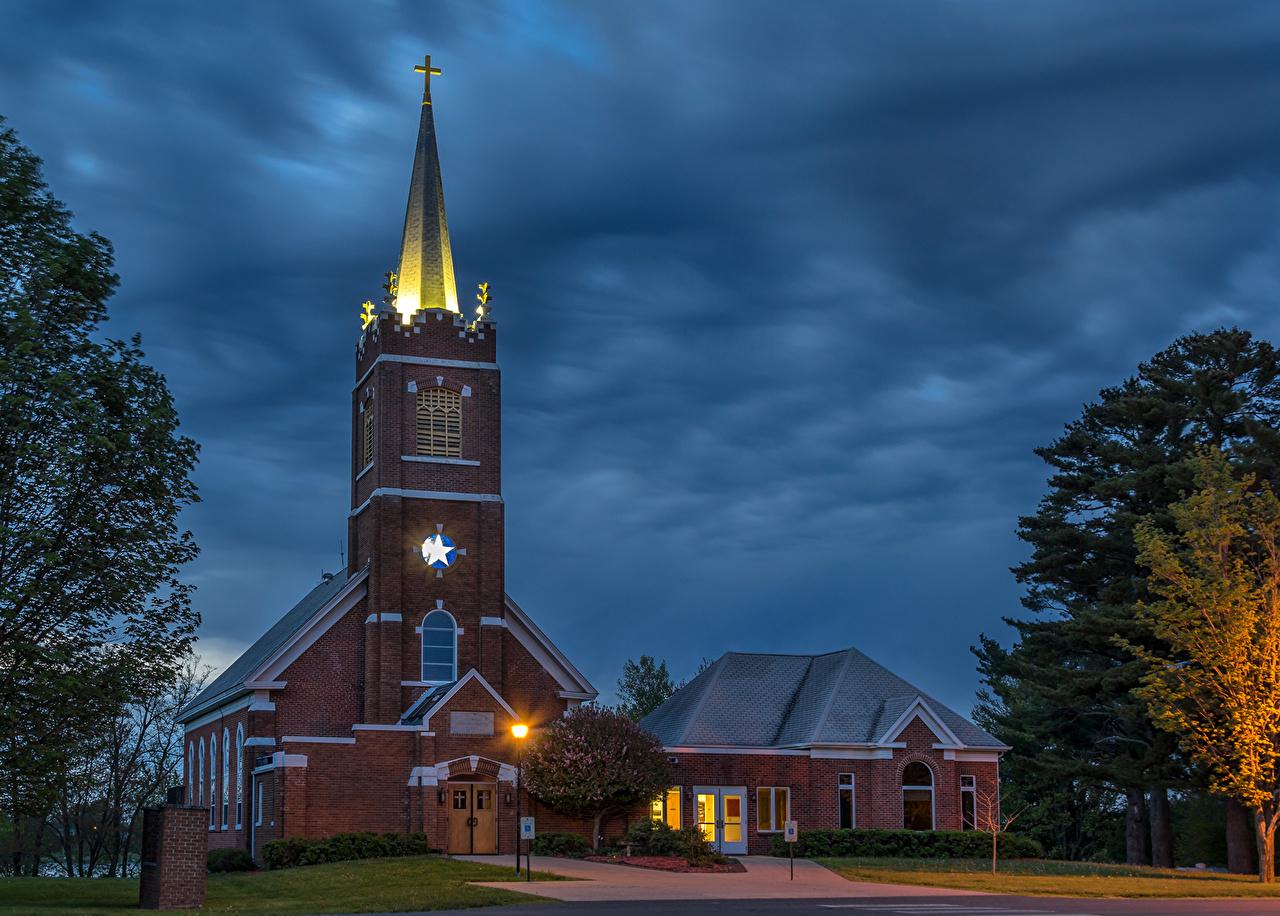 Картинки штаты Polk Wisconsin Храмы Ночные город США Ночь ночью в ночи Города