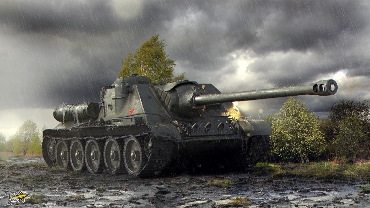 Картинка World of Tanks САУ Su-100 компьютерная игра WOT Самоходка Игры