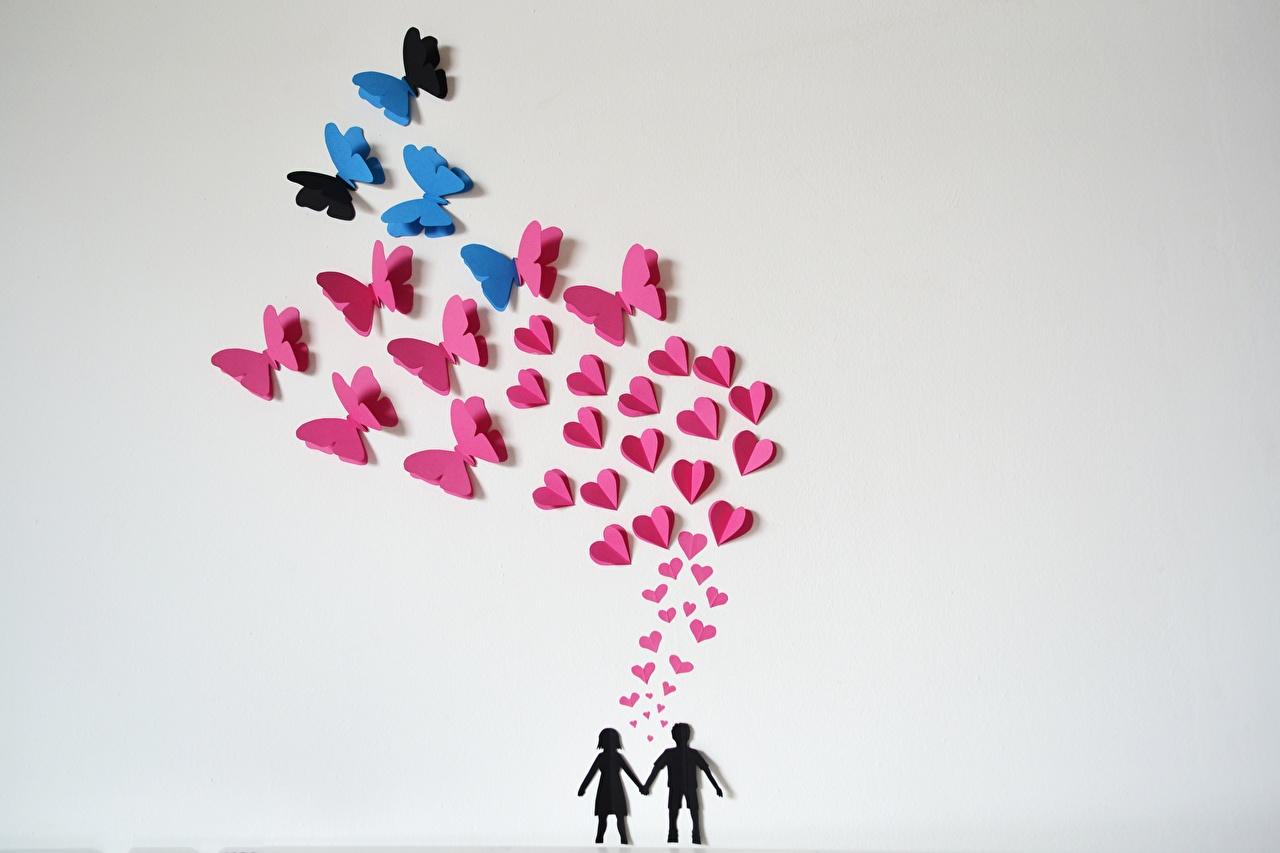 Картинка Бабочки Оригами Любовь Серый фон бабочка сером фоне