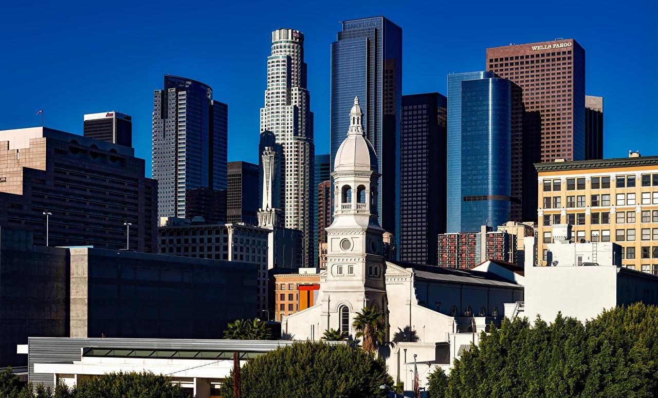 Картинки Церковь калифорнии Лос-Анджелес США мегаполиса Небоскребы город Калифорния штаты америка Мегаполис Города