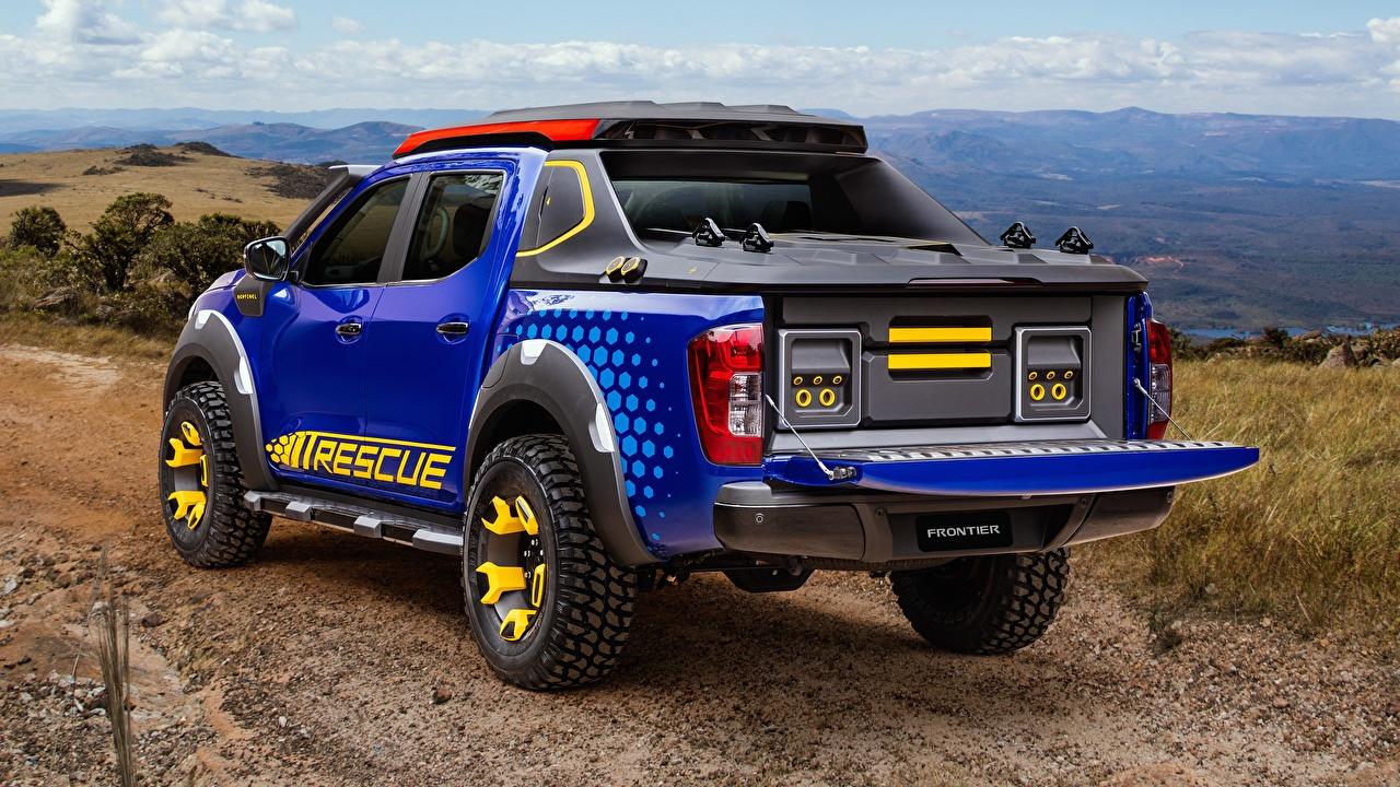 Фотографии Ниссан Concept 2018 Sentinel Frontier Пикап кузов Синий вид Машины Nissan Авто Сзади Автомобили