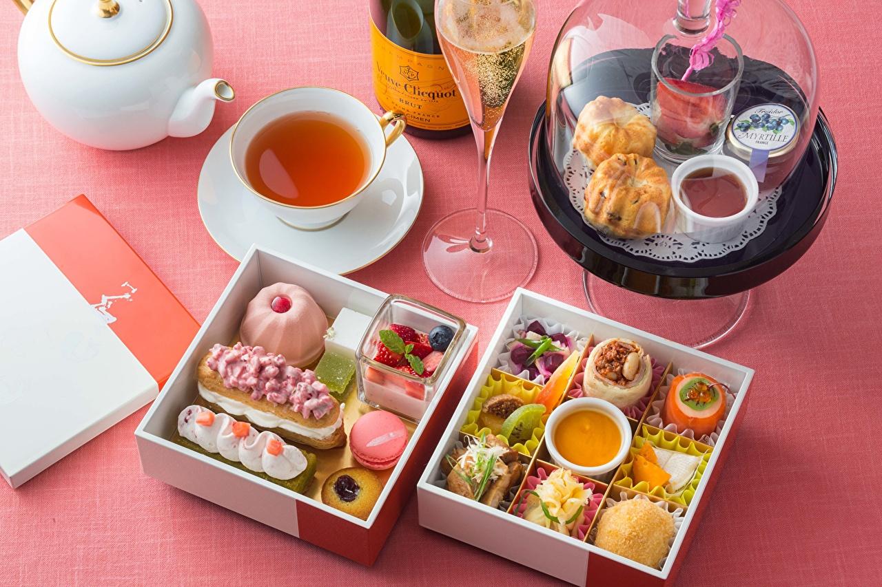 Фотография Чай Десерт Еда бокал Пирожное Пища Бокалы Продукты питания