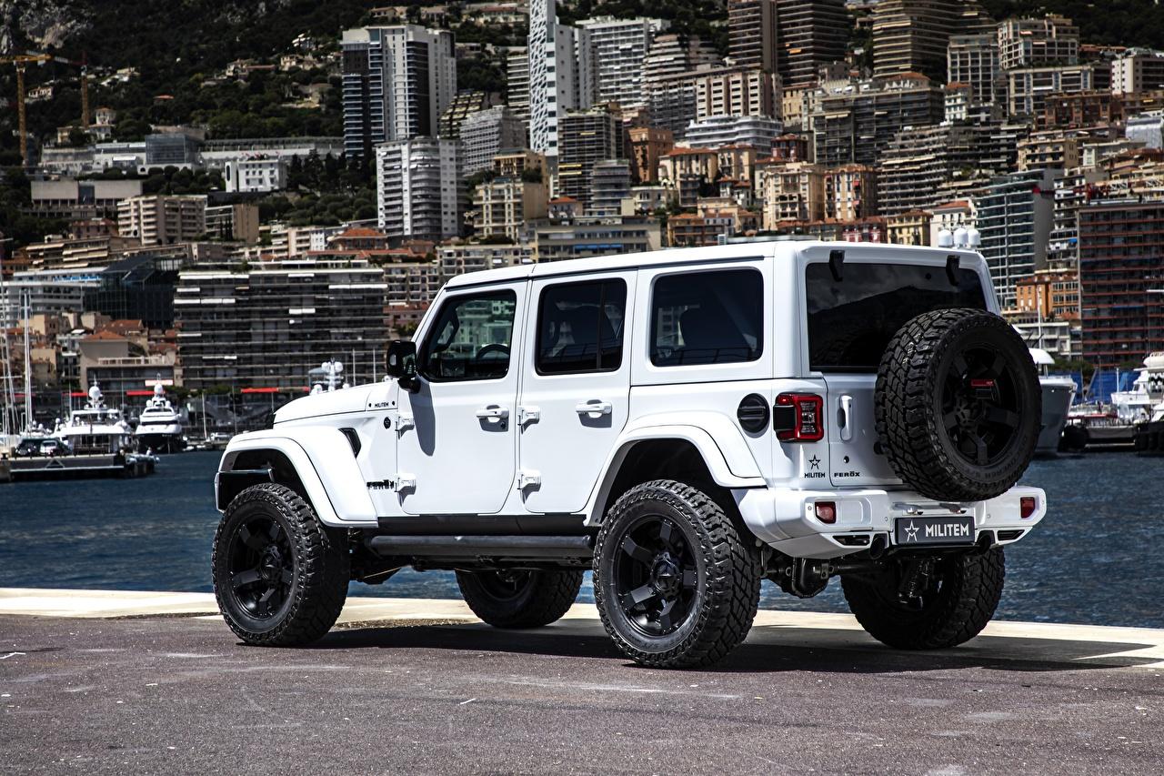 Обои для рабочего стола Джип Стайлинг SUV Wrangler Unlimited Militem Ferōx, 2019-- Белый Автомобили Jeep Тюнинг Внедорожник белая белые белых авто машины машина автомобиль