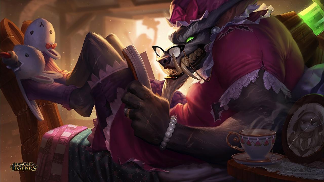 Фото League of Legends волк Клыки чтение warwick компьютерная игра LOL Волки Читает Игры