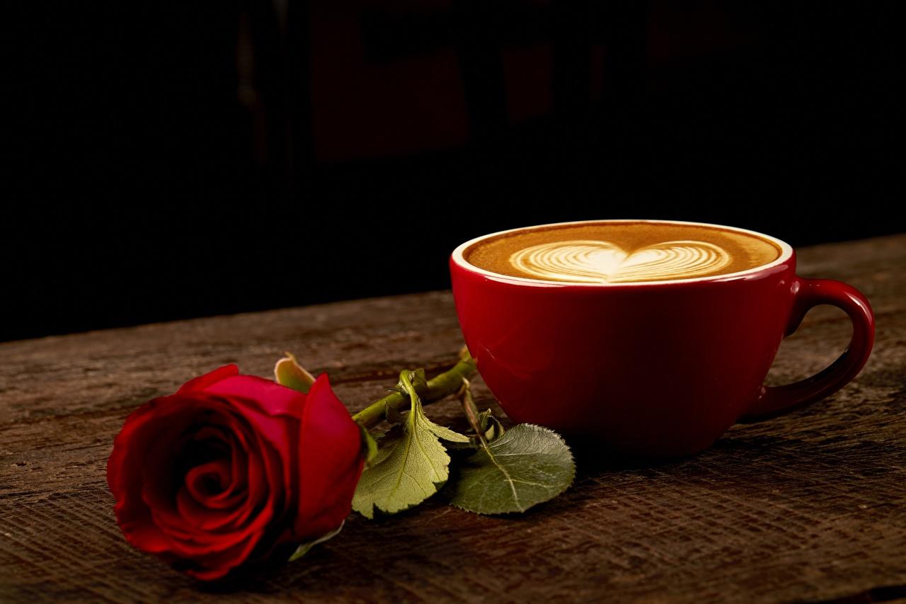 Обои для рабочего стола Сердце роза Кофе Капучино Пища чашке серце сердца сердечко Розы Еда Чашка Продукты питания