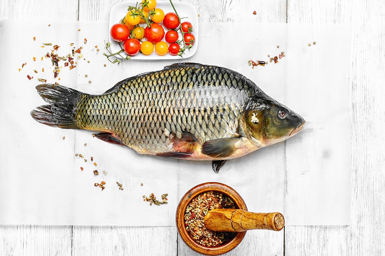 Фото Помидоры Рыба Еда Специи Морепродукты Доски Томаты Пища пряности приправы Продукты питания
