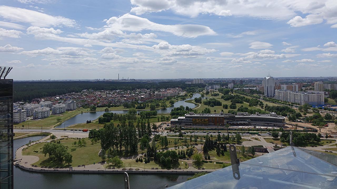 Фотография Беларусь Minsk Парки Реки Дома Города речка Здания