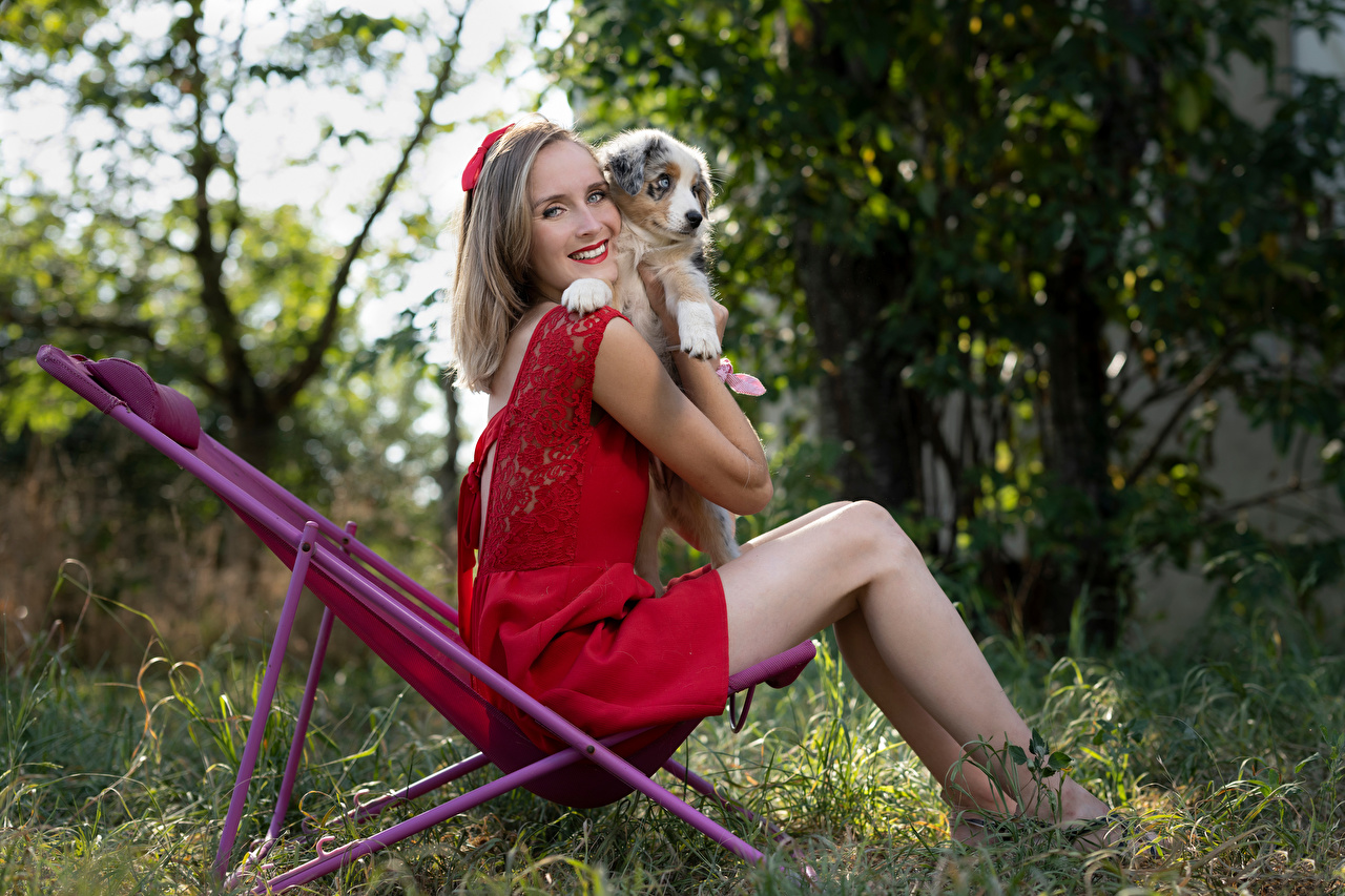Картинки щенка Блондинка улыбается Marion and Sissi Девушки ног Животные платья щенки Щенок щенков блондинки блондинок Улыбка девушка молодая женщина молодые женщины Ноги животное Платье