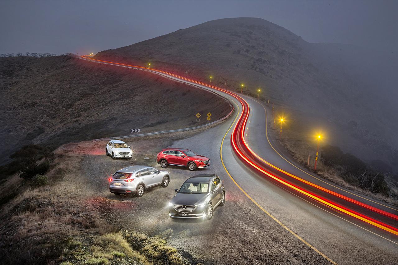 Фотографии Мазда 2016 CX-9 тумана Дороги едущий Ночь Автомобили Уличные фонари Mazda Туман тумане едет едущая Движение скорость авто ночью в ночи Ночные машины машина автомобиль