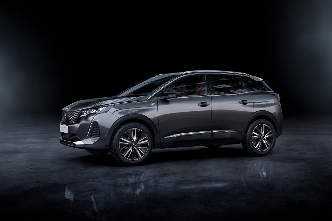 Картинки Peugeot Кроссовер 3008 GT, 2020 серая Сбоку Металлик Автомобили Пежо CUV серые Серый авто машина машины автомобиль
