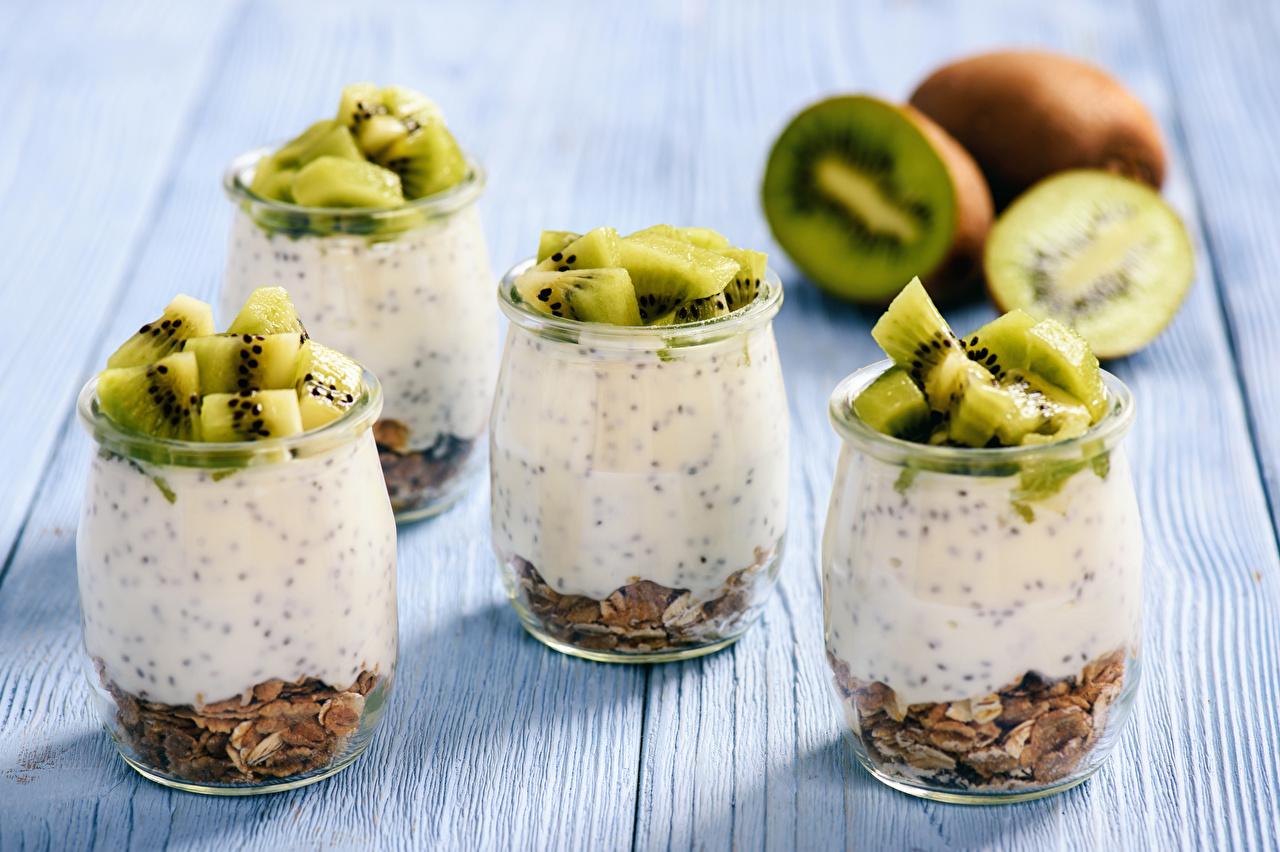Фотографии Киви Стакан Десерт Еда стакана стакане Пища Продукты питания