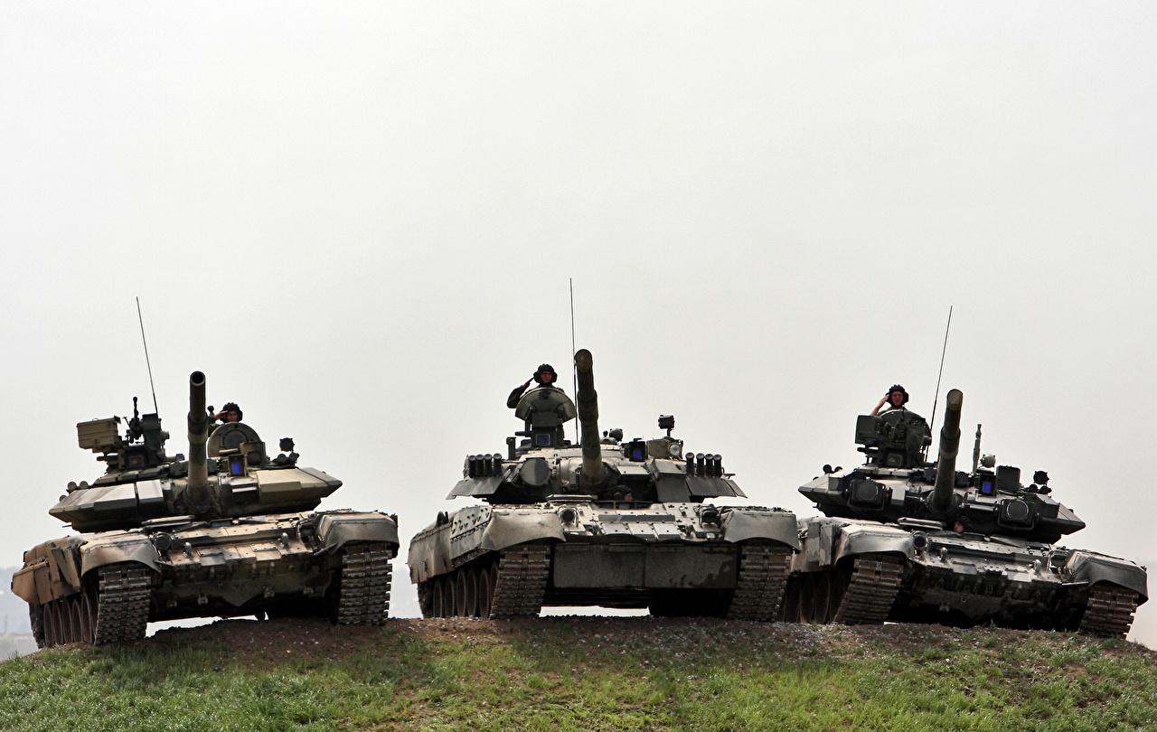 Картинки танк Солдаты российские Т-80U, Т-90A, Т-90C втроем военные Танки солдат Русские три Трое 3 Армия