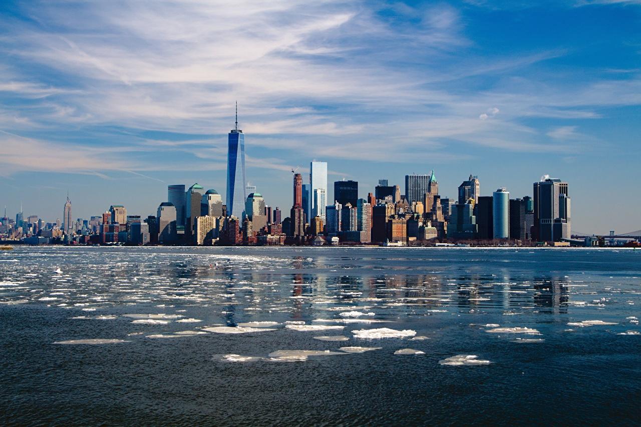 Фото Нью-Йорк Манхэттен США мегаполиса Небоскребы Города штаты Мегаполис город