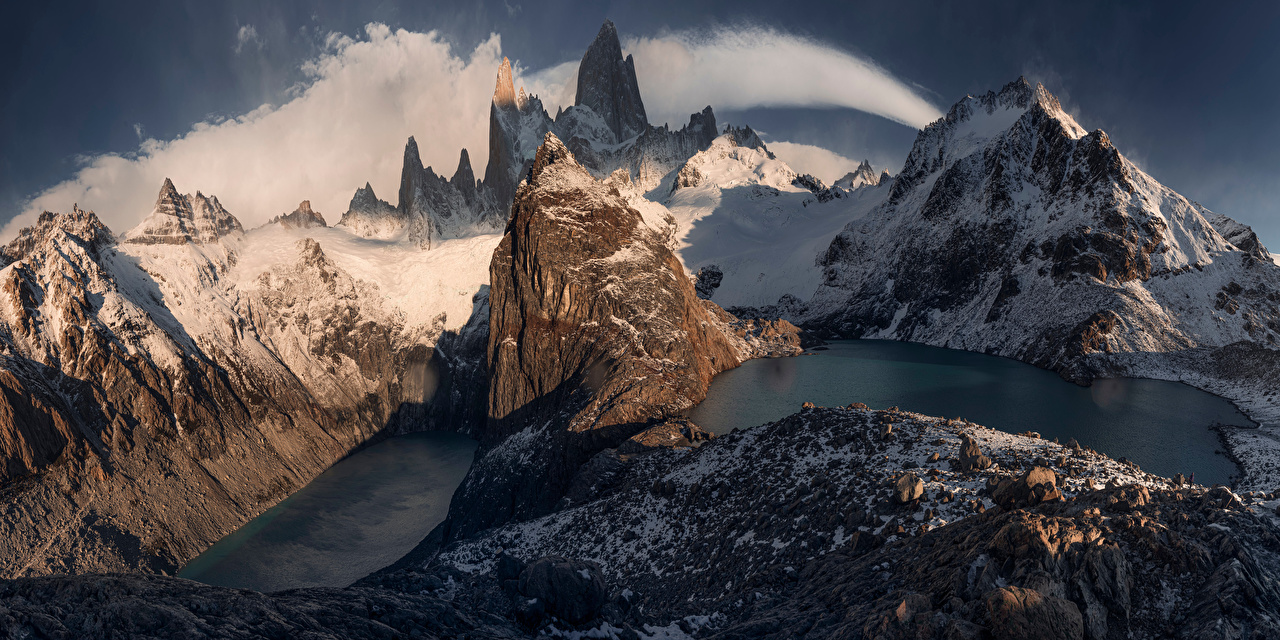 Фотографии Аргентина Панорама Patagonia, Fitzroy Massif гора скалы Природа облачно панорамная Горы Утес скале Скала Облака облако