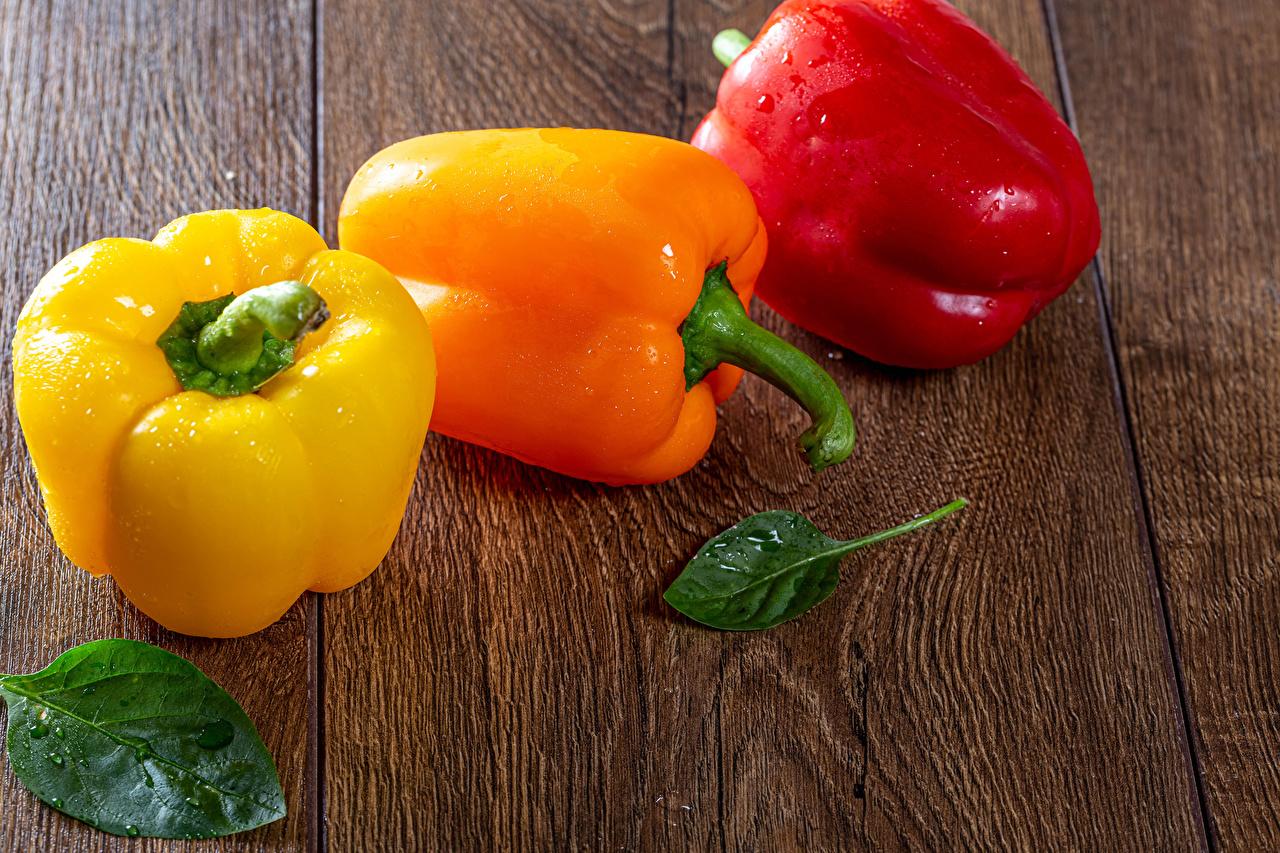 Картинка лист Капли Трое 3 перец овощной Продукты питания Доски Листья Листва капля капель капельки Еда три Пища Перец втроем
