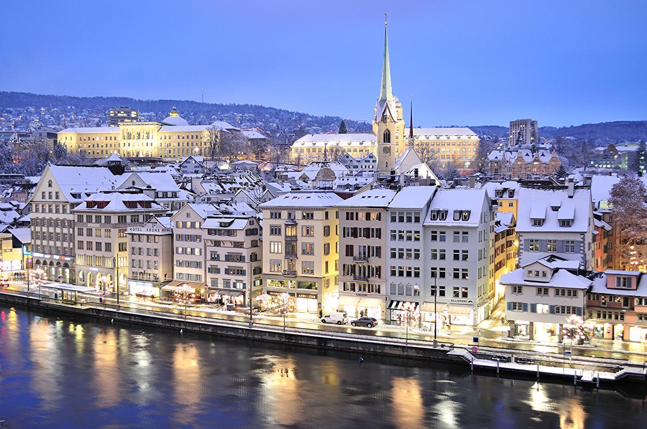 Обои швейцария, Switzerland, здания, крыши, Цюрих, дома. Города foto 7