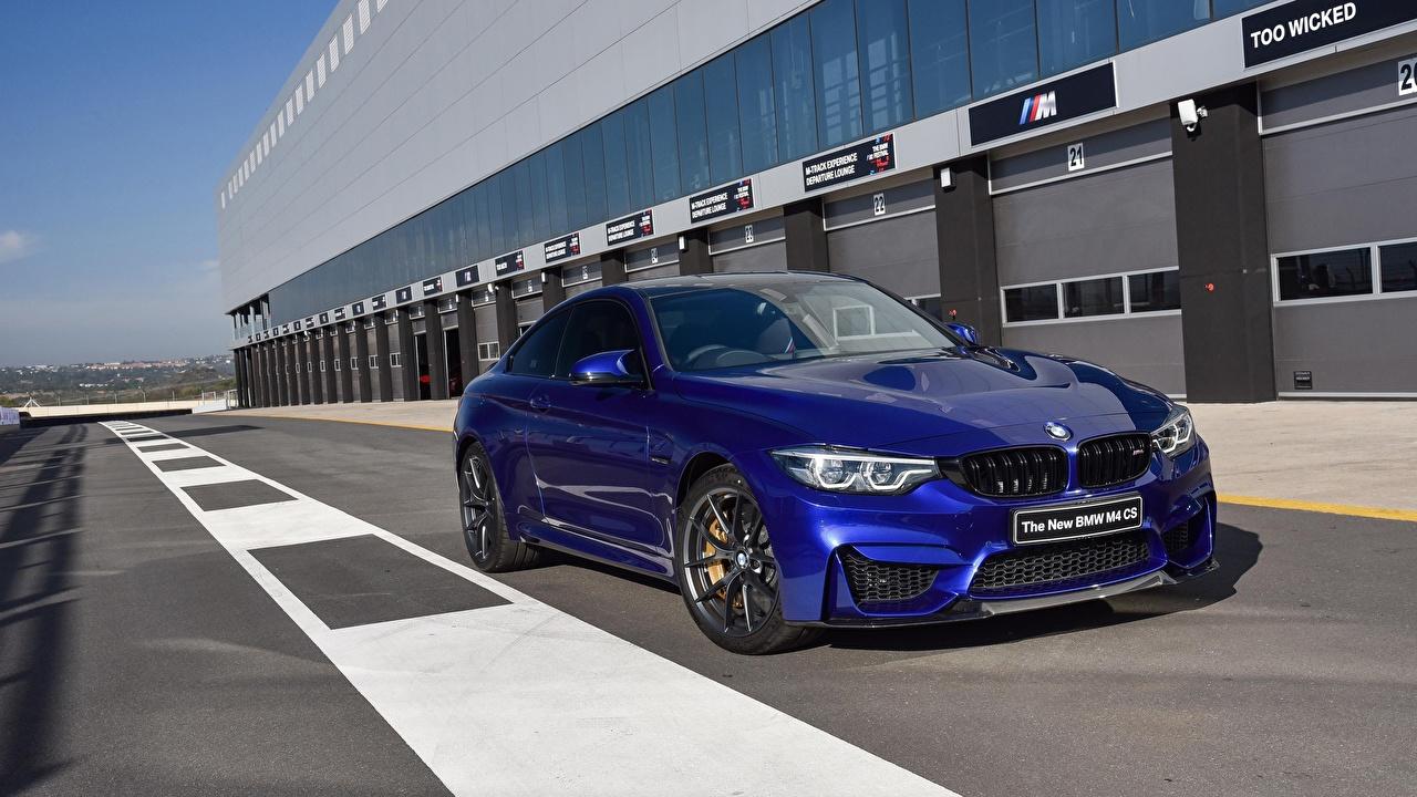 Фотографии BMW M4 CS 2017 синяя Автомобили БМВ Синий синие синих авто машины машина автомобиль