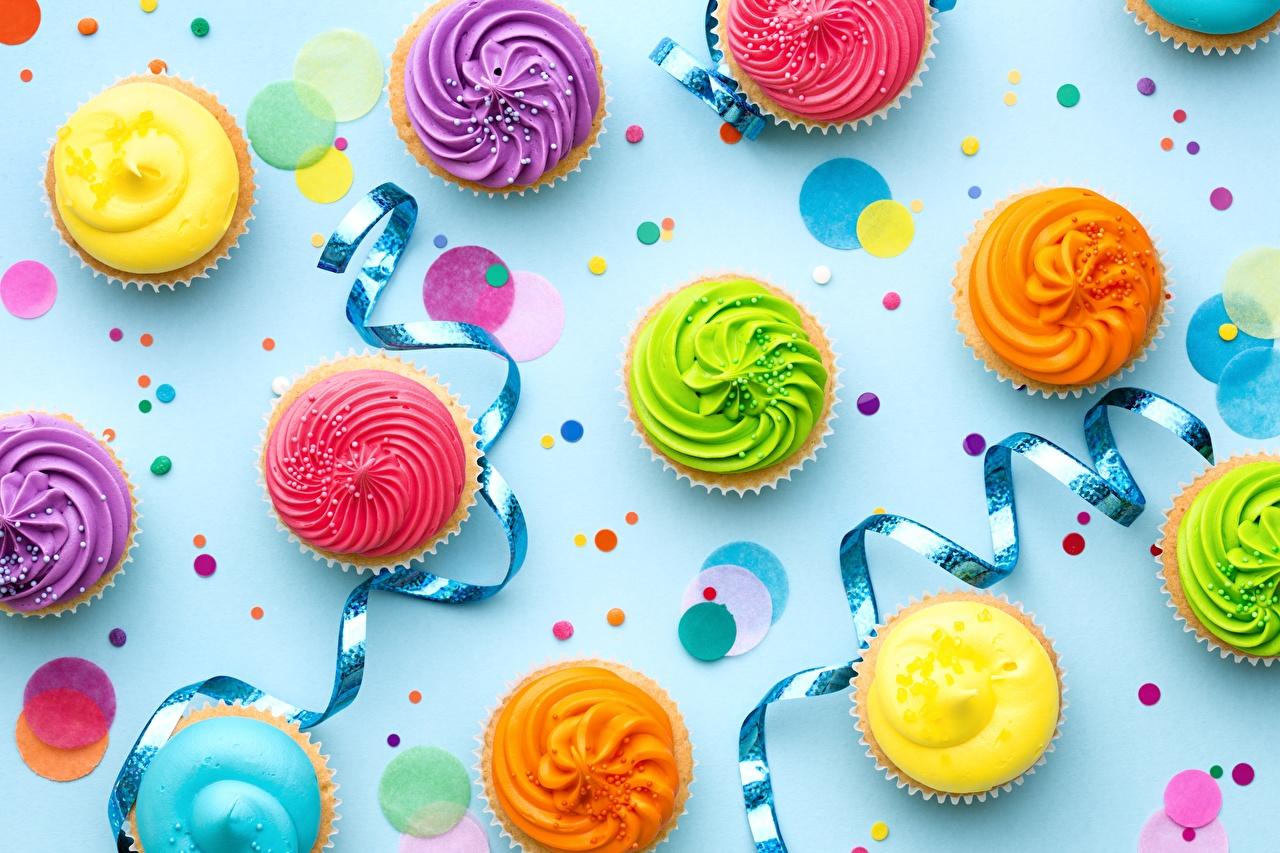 Фотография День рождения Разноцветные Капкейк кекс Лента Продукты питания Еда Пища ленточка